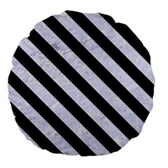 Stripes3 Black Marble & White Marble (r) Large 18  Premium Round Cushion  by trendistuff