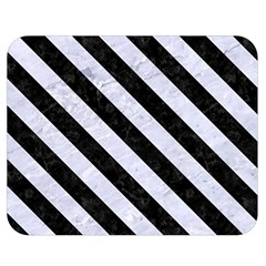 Stripes3 Black Marble & White Marble (r) Double Sided Flano Blanket (medium) by trendistuff