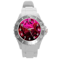 Abstract Bubble Background Round Plastic Sport Watch (l) by Amaryn4rt