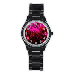 Abstract Bubble Background Stainless Steel Round Watch by Amaryn4rt
