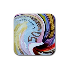 Abstract Currency Background Rubber Square Coaster (4 Pack)  by Amaryn4rt