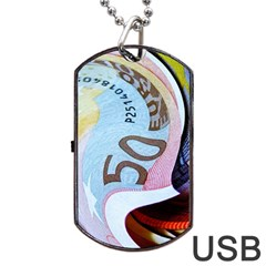 Abstract Currency Background Dog Tag Usb Flash (two Sides) by Amaryn4rt