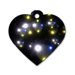 Abstract Dark Spheres Psy Trance Dog Tag Heart (one Side) by Amaryn4rt