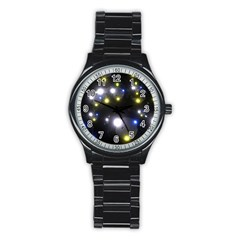 Abstract Dark Spheres Psy Trance Stainless Steel Round Watch by Amaryn4rt