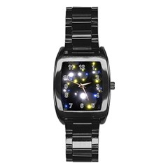 Abstract Dark Spheres Psy Trance Stainless Steel Barrel Watch by Amaryn4rt