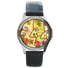 Abstract Faces Abstract Spiral Round Metal Watch by Amaryn4rt