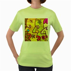 Abstract Faces Abstract Spiral Women s Green T Shirt by Amaryn4rt