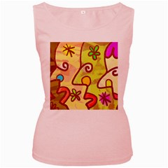 Abstract Faces Abstract Spiral Women s Pink Tank Top