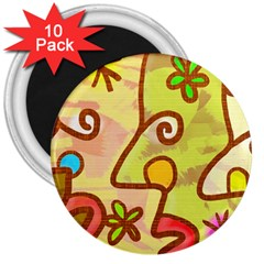 Abstract Faces Abstract Spiral 3  Magnets (10 Pack)