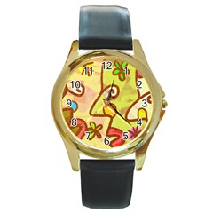 Abstract Faces Abstract Spiral Round Gold Metal Watch