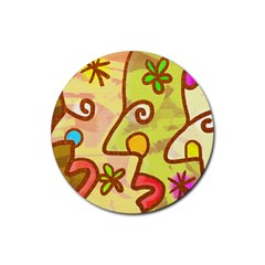 Abstract Faces Abstract Spiral Rubber Round Coaster (4 pack)