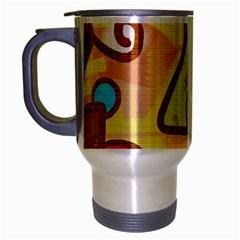 Abstract Faces Abstract Spiral Travel Mug (Silver Gray)
