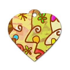 Abstract Faces Abstract Spiral Dog Tag Heart (One Side)