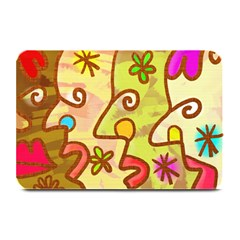 Abstract Faces Abstract Spiral Plate Mats