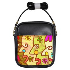 Abstract Faces Abstract Spiral Girls Sling Bags