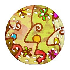 Abstract Faces Abstract Spiral Round Filigree Ornament (two Sides) by Amaryn4rt