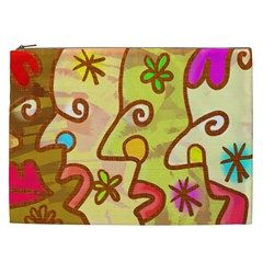 Abstract Faces Abstract Spiral Cosmetic Bag (xxl)  by Amaryn4rt