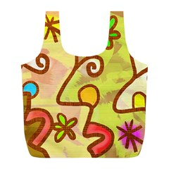Abstract Faces Abstract Spiral Full Print Recycle Bags (L)