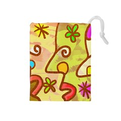 Abstract Faces Abstract Spiral Drawstring Pouches (medium)  by Amaryn4rt