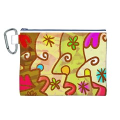 Abstract Faces Abstract Spiral Canvas Cosmetic Bag (l) by Amaryn4rt