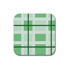 Abstract Green Squares Background Rubber Coaster (square)  by Amaryn4rt