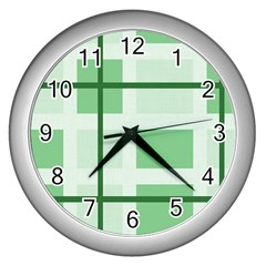 Abstract Green Squares Background Wall Clocks (silver)  by Amaryn4rt