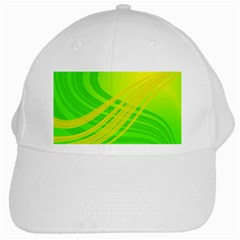 Abstract Green Yellow Background White Cap by Amaryn4rt