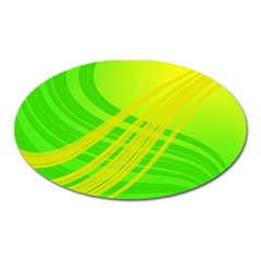 Abstract Green Yellow Background Oval Magnet by Amaryn4rt