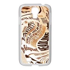 Abstract Newspaper Background Samsung Galaxy S4 I9500/ I9505 Case (white) by Amaryn4rt