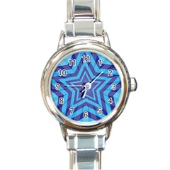 Abstract Starburst Blue Star Round Italian Charm Watch by Amaryn4rt