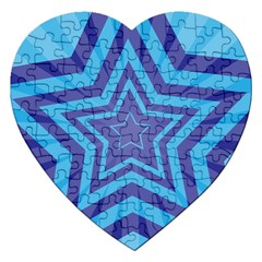 Abstract Starburst Blue Star Jigsaw Puzzle (heart) by Amaryn4rt