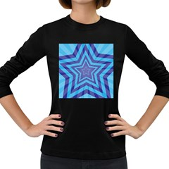 Abstract Starburst Blue Star Women s Long Sleeve Dark T Shirts by Amaryn4rt