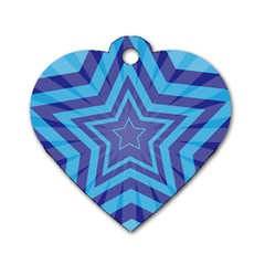 Abstract Starburst Blue Star Dog Tag Heart (one Side) by Amaryn4rt