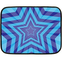 Abstract Starburst Blue Star Double Sided Fleece Blanket (mini)  by Amaryn4rt