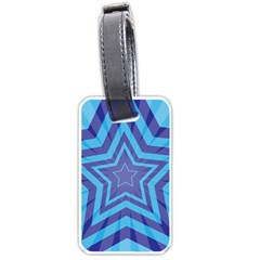 Abstract Starburst Blue Star Luggage Tags (one Side)  by Amaryn4rt