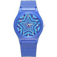 Abstract Starburst Blue Star Round Plastic Sport Watch (s)