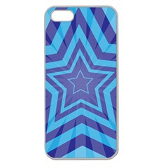 Abstract Starburst Blue Star Apple Seamless Iphone 5 Case (clear) by Amaryn4rt