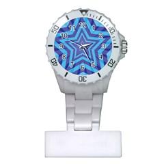 Abstract Starburst Blue Star Plastic Nurses Watch by Amaryn4rt