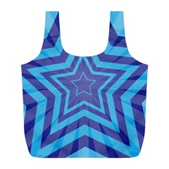 Abstract Starburst Blue Star Full Print Recycle Bags (l)  by Amaryn4rt