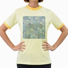 Bee Hive Background Women s Fitted Ringer T Shirts by Amaryn4rt