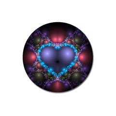 Blue Heart Magnet 3  (round) by Amaryn4rt