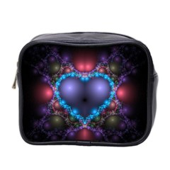 Blue Heart Mini Toiletries Bag 2 Side by Amaryn4rt