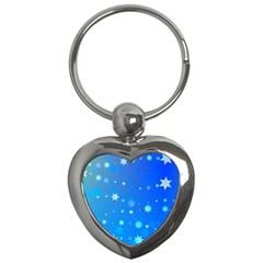 Blue Hot Pattern Blue Star Background Key Chains (heart)  by Amaryn4rt