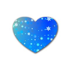Blue Hot Pattern Blue Star Background Heart Coaster (4 pack)  by Amaryn4rt