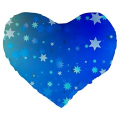 Blue Hot Pattern Blue Star Background Large 19  Premium Flano Heart Shape Cushions by Amaryn4rt