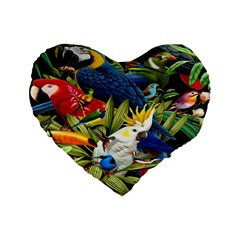 Animals Bird Standard 16  Premium Flano Heart Shape Cushions by Jojostore