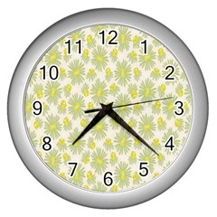Another Supporting Tulip Flower Floral Yellow Gray Wall Clocks (silver)  by Jojostore