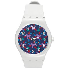 Areas Of Colour Square Relative Neutrality Round Plastic Sport Watch (m) by Jojostore