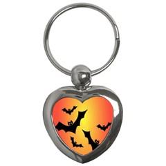 Bats Orange Halloween Illustration Clipart Key Chains (heart)  by Jojostore