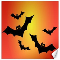 Bats Orange Halloween Illustration Clipart Canvas 16  X 16   by Jojostore